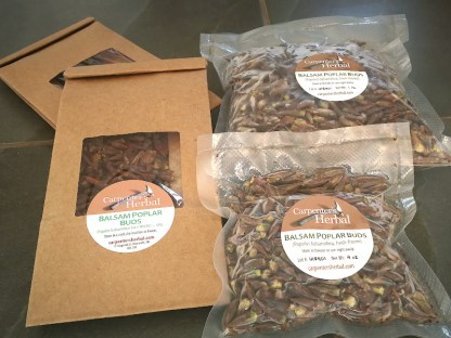 Packaged Balsam Poplar Buds, frozen and dried