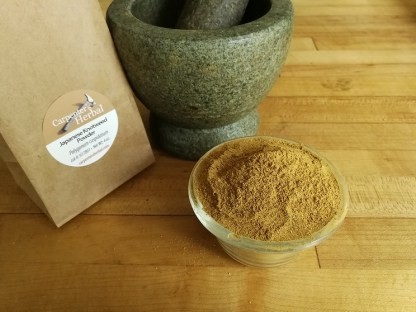 A bowl of powdered japanese knotweed root