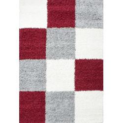 tapis shaggy shaggy a carreaux rouge blanc gris