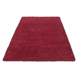 salon a poils longs dream shaggy tapis uni couleur poil hauteur 5cm rouge