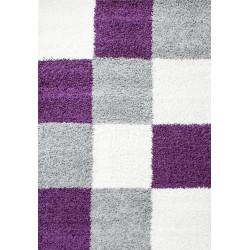 tapis a poils longs pour salon a poils longs hauteur 3cm a carreaux violet blanc gris