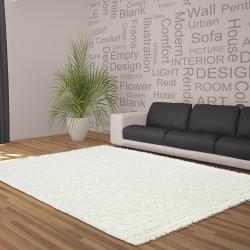 tapis shaggy poils hauts poils longs tapis de salon couleur unie hauteur de poils 5cm creme