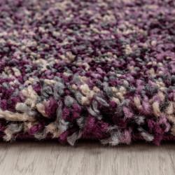 tapis de salon shaggy haute qualite poil profond violet gris chine