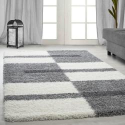 tapis de salon a poils longs poils longs shaggy hauteur 3cm gris blanc gris clair