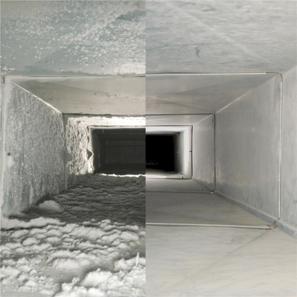 side by side comparison of a clean air duct and an uncleaned air duct