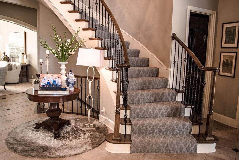 Patterned Carpet Add Some Fun To Your Floors Carpet Direct | Grey Patterned Stair Carpet | Teal | Black | Farmhouse Style | Stair Landing | Wall