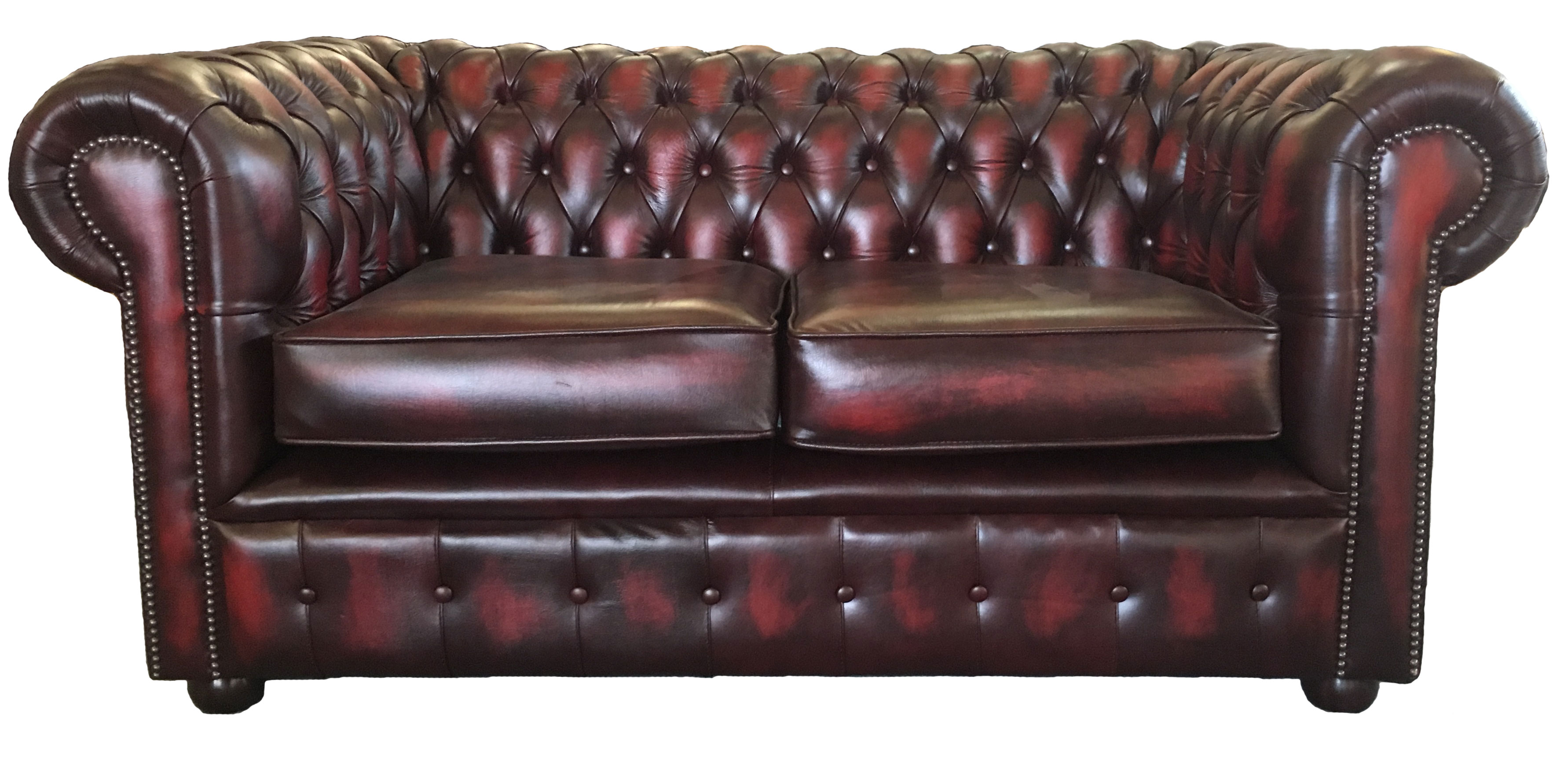 red leather two seater sofa bed bath and beyond sure fit covers antique oxblood vintage style chesterfield genuine