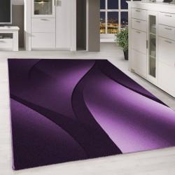 designer tapis moderne poils ras abstrait ondes optique noir mauve blanc