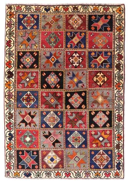ghashghai tapis 136x197 d orient fait main rouge fonce marron fonce laine perse iran