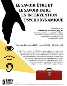 Un doublé: « Le savoir-être et le savoir-faire en intervention psychodynamique » avec Alexandre Francisco ET « La place de l'enfant dans la psychanalyse» avec Dominique Holvoet