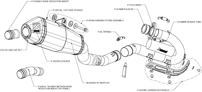 Akrapovic Full Exhaust S-H2MR1-ASZT in Exhaust