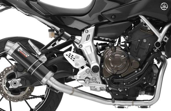 mivv complete exhaust system yamaha mt 07 fz 07 high mount gp style cylindrical steel black muffler db killer removable silencer