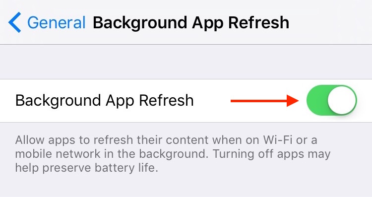 4. Settings General Background App Refresh Setting