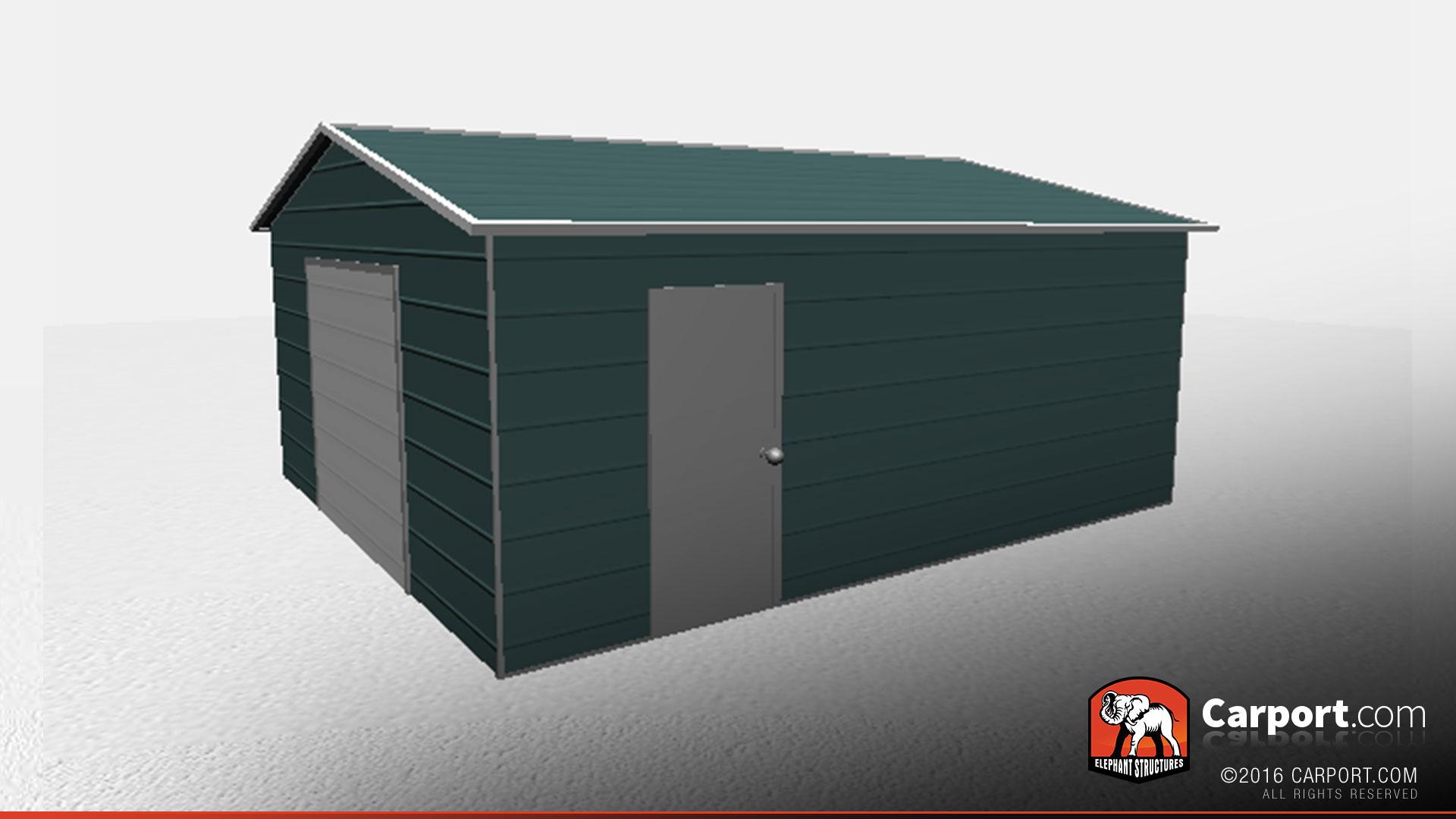 18 X 21 X 8 Fully Enclosed Metal Workshop Building