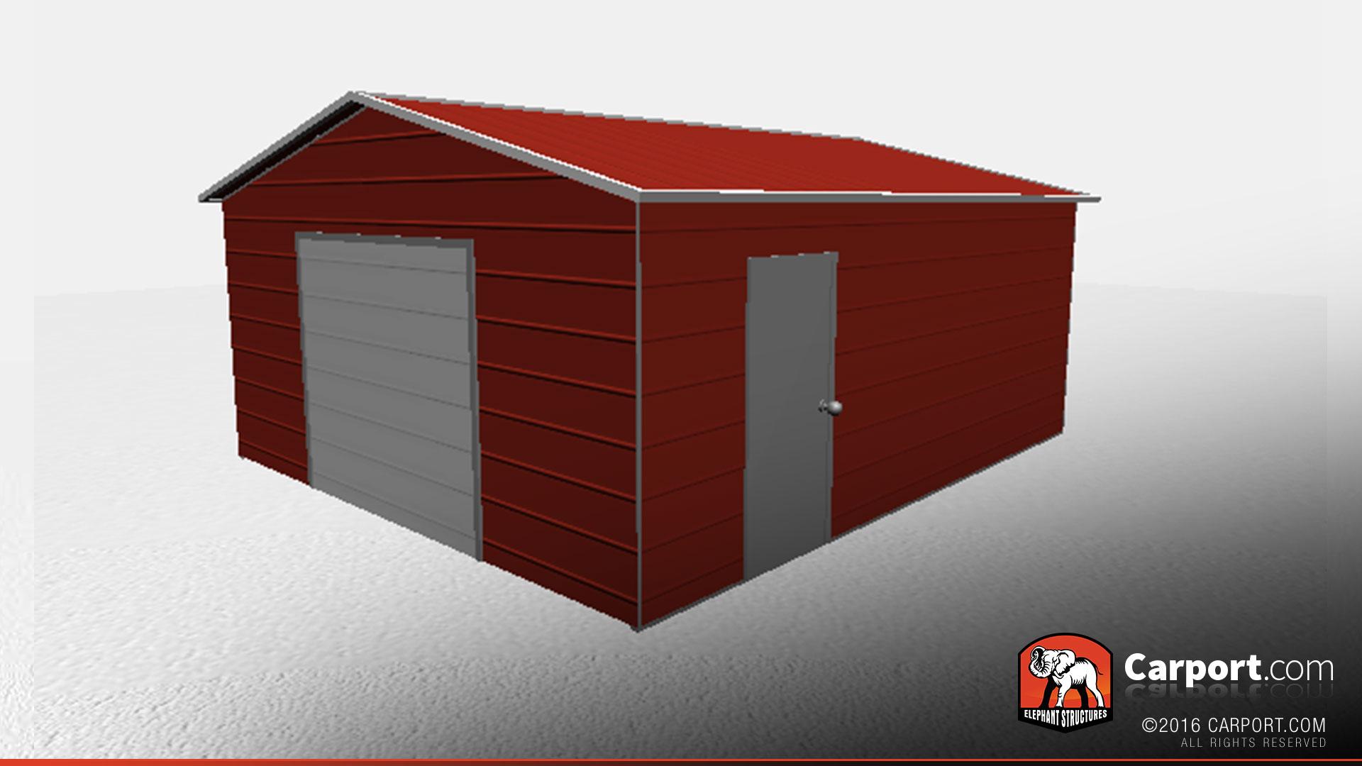 18 X 21 X 8 Vertical Roof Enclosed Metal Garage Metal