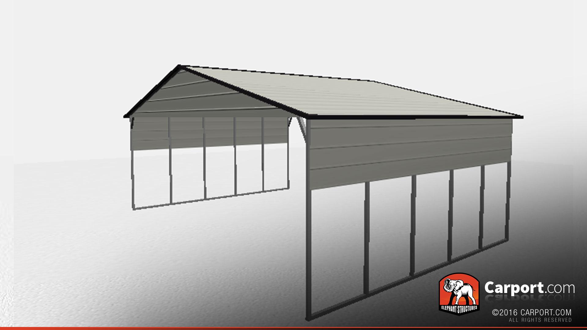 30 X 50 Triple Wide Car Port Shelter With Gables Metal Buildings Online