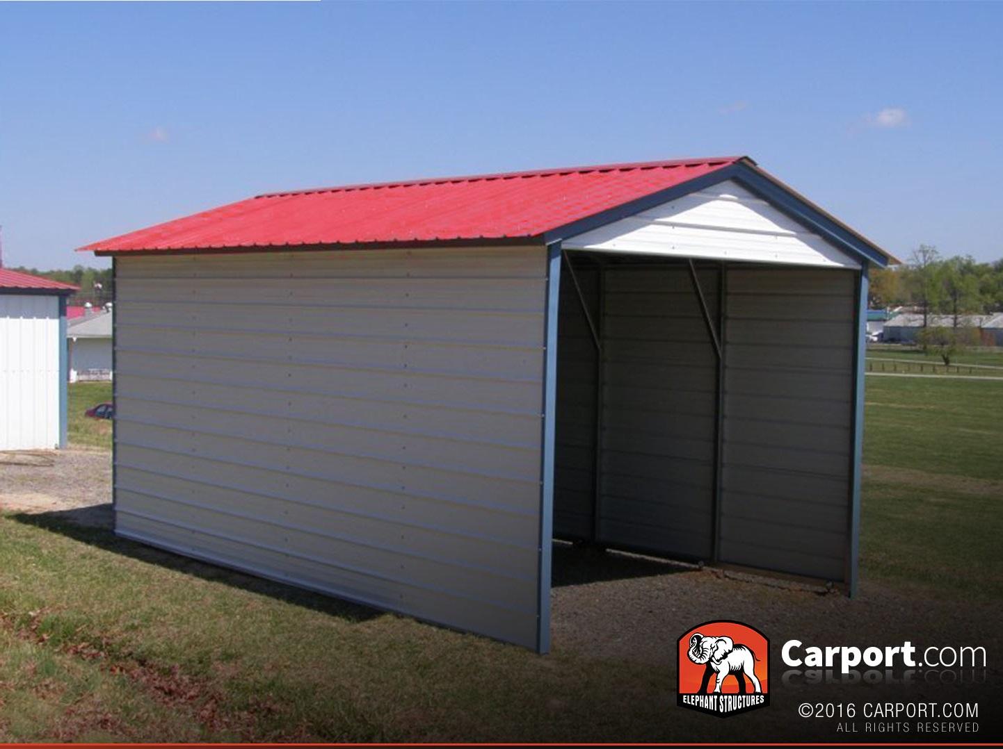 1 Car Metal Carport 12 x 21 with Vertical Roof  Metal Carport Pricing