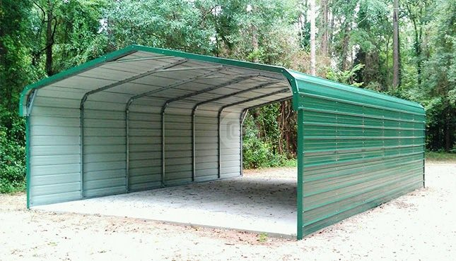 20x31x9 Carport With Closed Side Walls Regular Roof