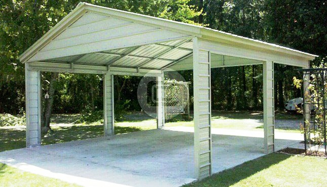 22x21 Vertical Roof Side Entry Metal Carport Metal Cover