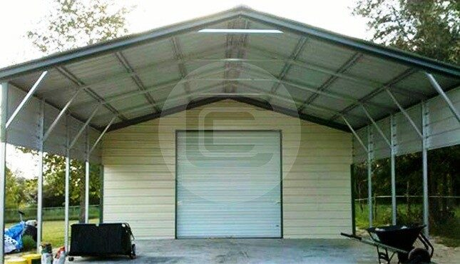 Vertical Roof Style 2 Car Metal Carport 24x31 Steel
