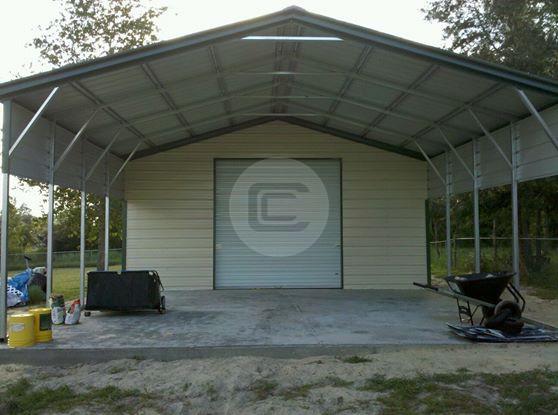 Vertical Roof Style 2 Car Metal Carport 24x31x8 Steel