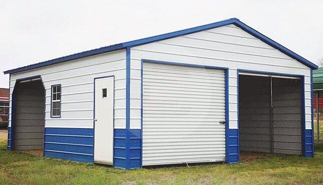 24x26 Two Tone Metal Garage 2 Car Front Load Garage