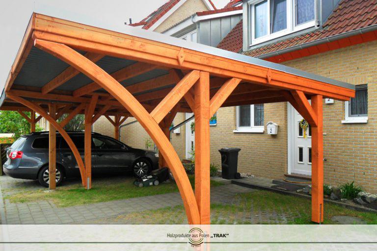 Flachdach Carport mit 2 große Bogen - Holzprodukte aus polen