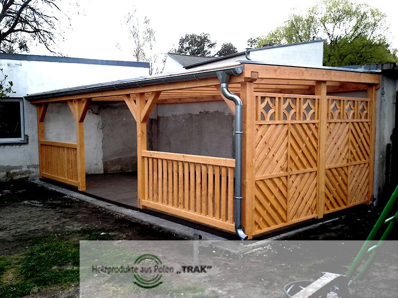 pavillon aus holz mit durchsichtige dach projekte 5 carports aus polen. Black Bedroom Furniture Sets. Home Design Ideas