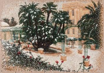 """""""Parc-Hôtel sous la neige"""" / """"Park-Hotel under snow"""" - Huile sur toile - 92 x 65 cm -"""