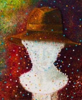 """""""Buste porte-chapeau"""" / """"Hat Rack Bust"""" - Huile sur toile - 46 x 38 cm"""