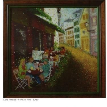 """""""Café en Terrasse"""" Huile sur toile - 60 x 60 cm"""