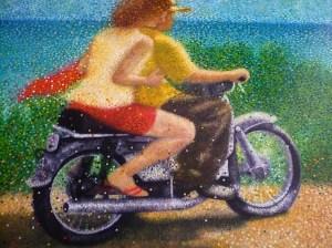 """""""Le couple à la moto""""/""""The Couple at motorcar"""" Huile sur toile - 97 x 162 cm Prix de la ville de Sanary"""