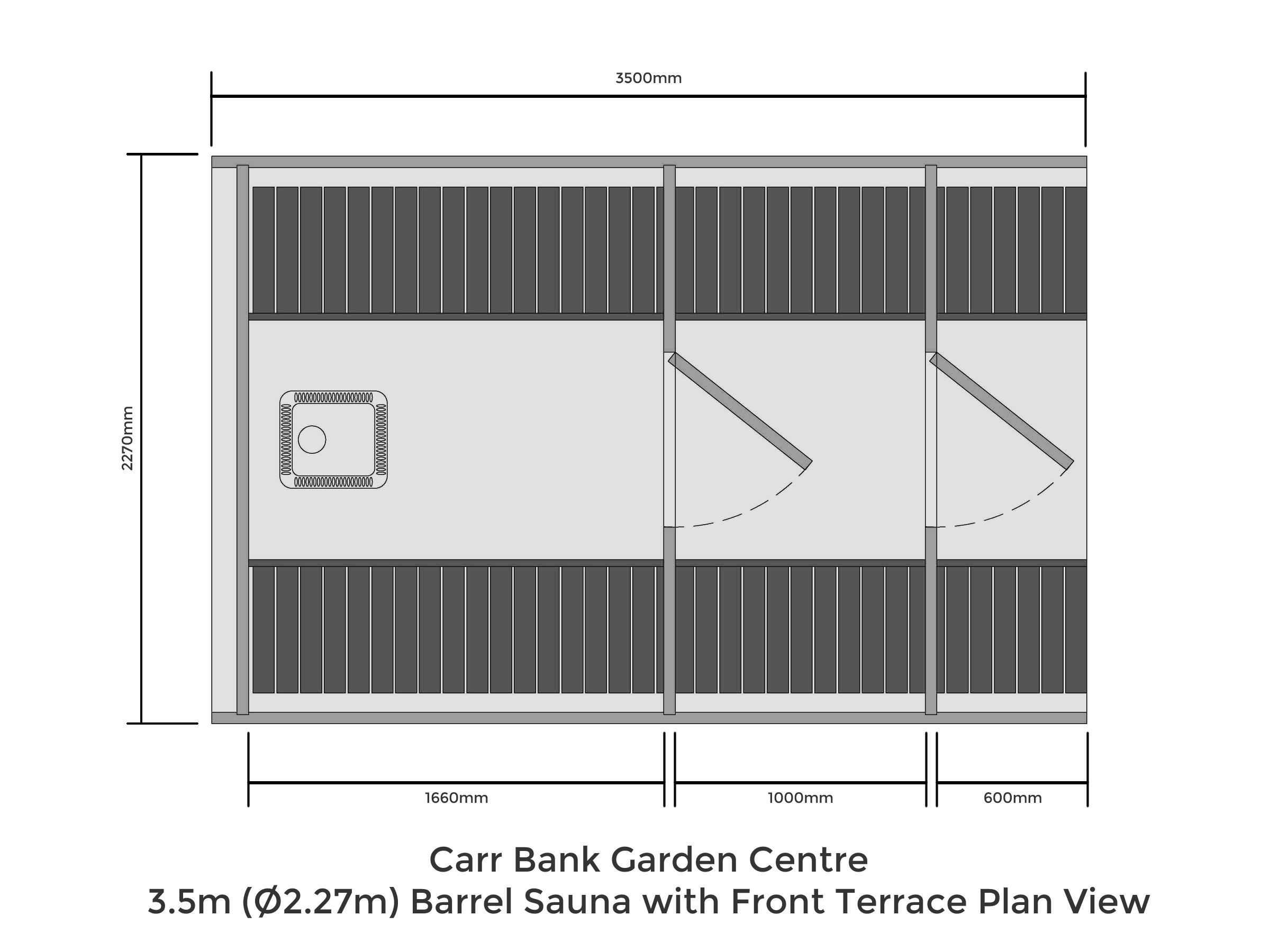 3.5m (Ø2.27m) Barrel Sauna with Front Terrace Plan View