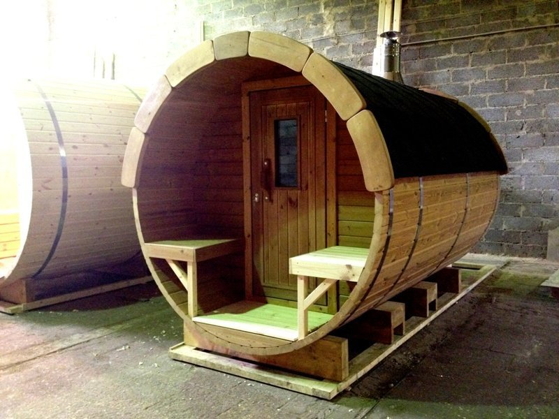 3m Wooden Barrel Sauna with Porch