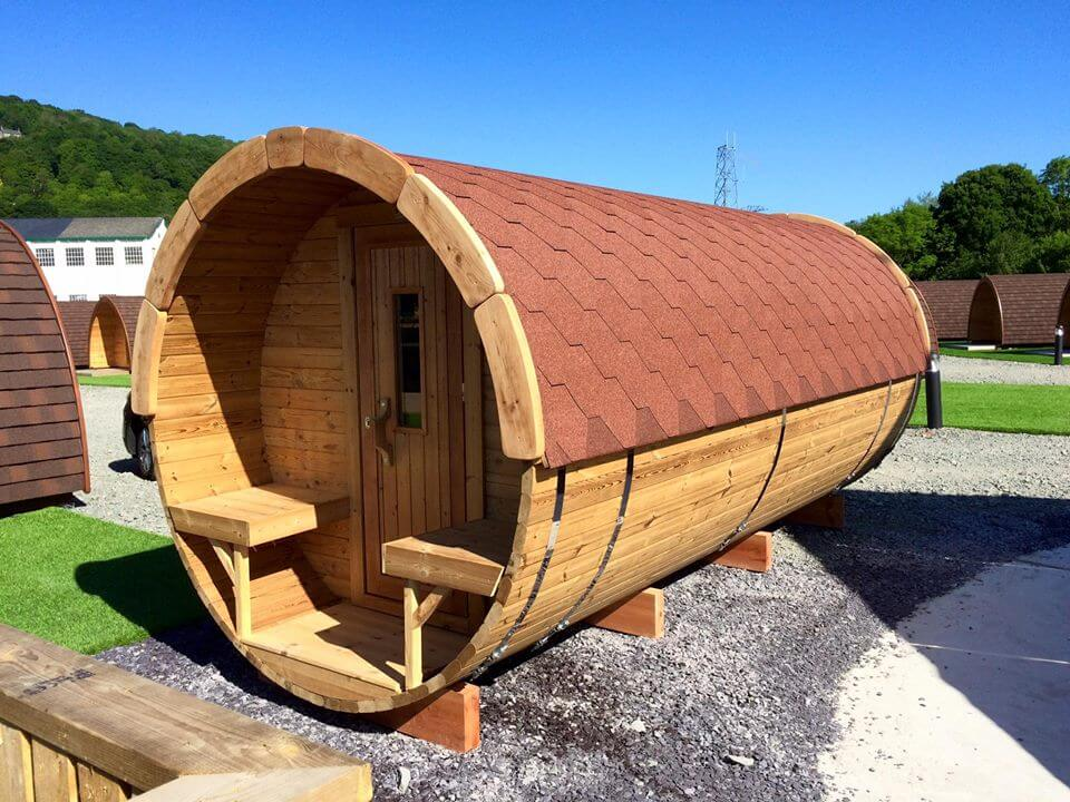 Thermowood Barrel Sauna from Carr Bank Garden Centre