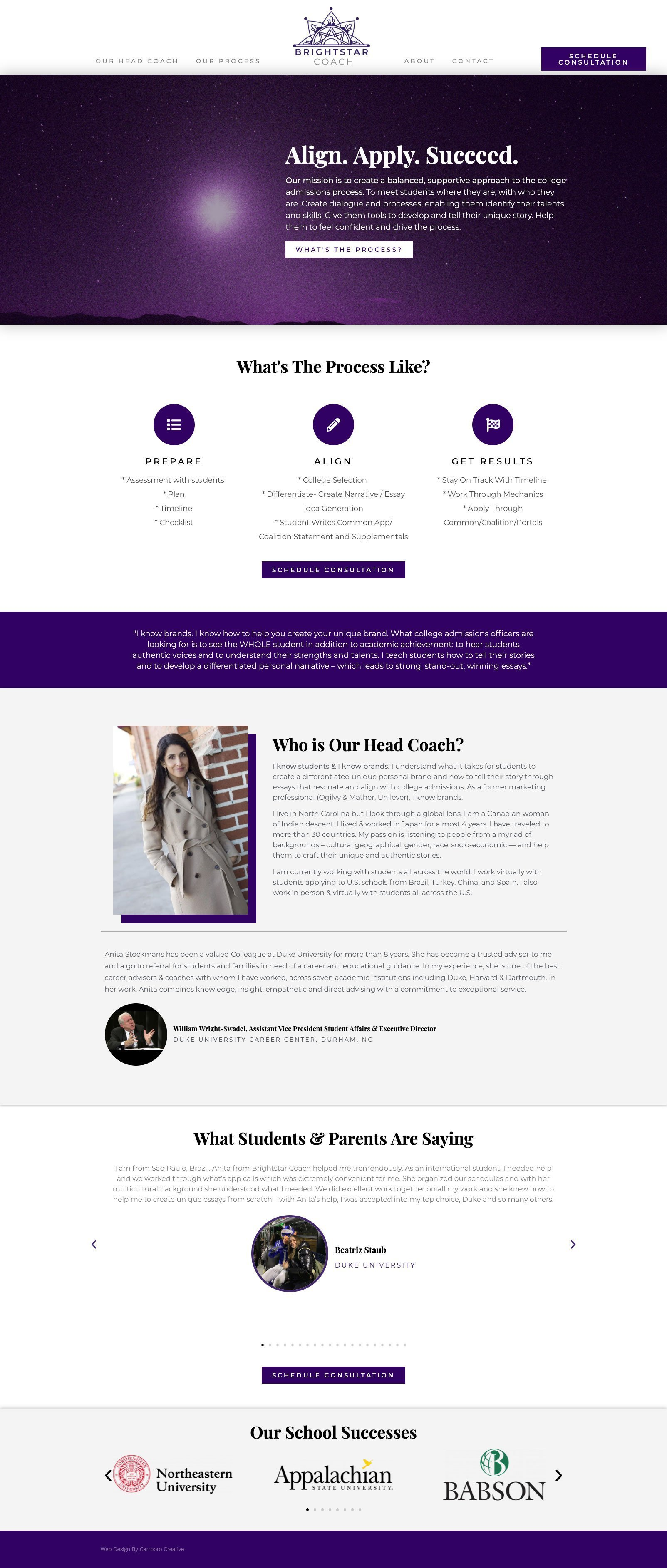 BrightStar Coach Website Screenshot