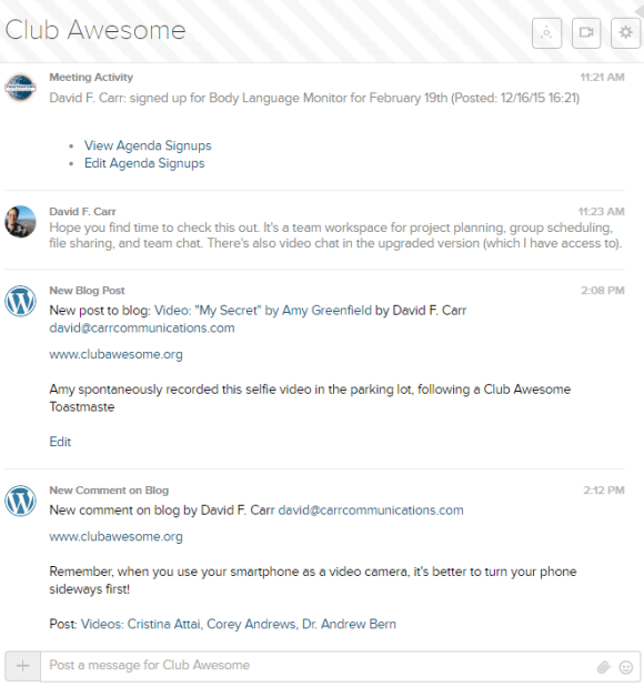 WordPress new blog post and comment activity, as recorded in the stream of comments in a Glip team conversation.