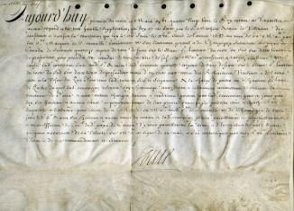 Un acte de 1688 signé par Louis XIV exposé