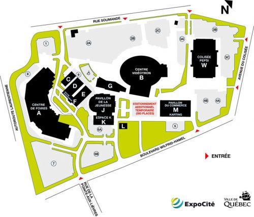 Carte du projet de stationnements à ExpoCité