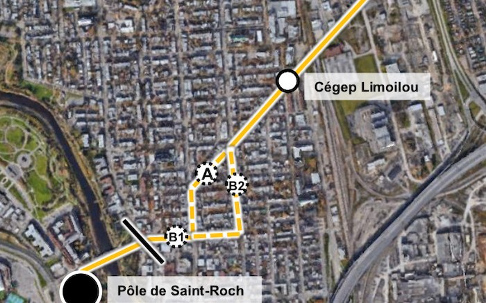 Trajets possible du tramway dans Limoilou