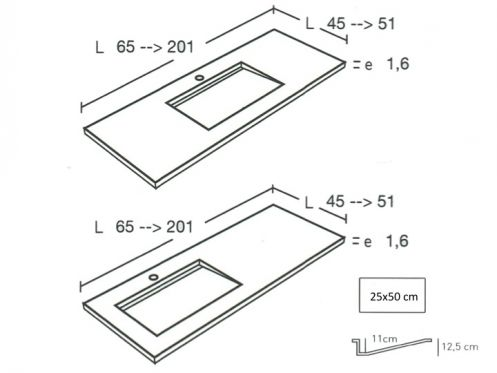 Plan de Vasque sur mesure Style Lisso_