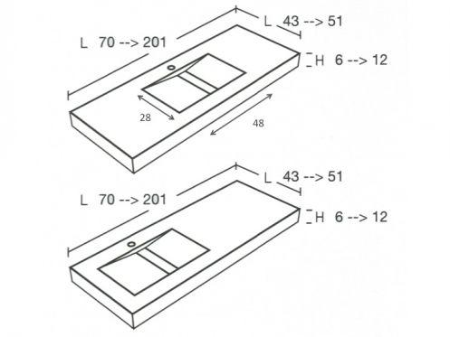 Plan de Vasque sur mesure SENDA Lisso_