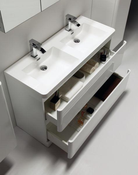 Meuble Salle De Bain Double Vasques Cm Blanc Brillant Poser Au