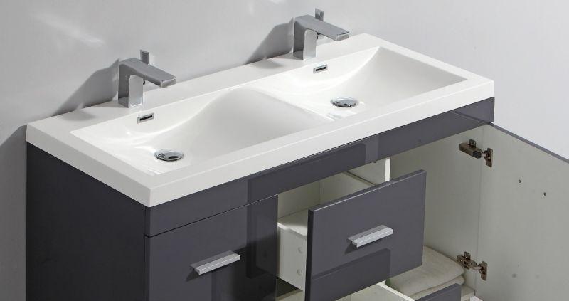 Meuble De Salle De Bain Sur Pieds Avec Double Vasque De Cm Blanc
