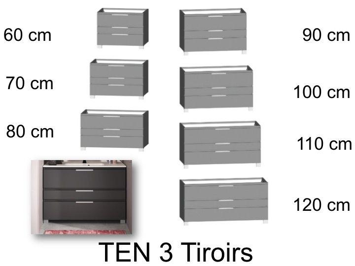 Meuble Salle De Bains 3 Tiroirs Sur Pieds Ten Cedam Sous Vasque Ou Sous Plan 60 70 80 90 100 110 120 Cm