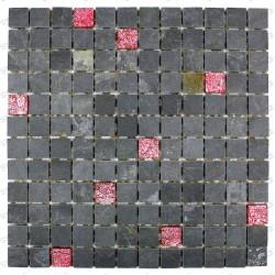 Azulejo mosaico de vidrio y piedra pizarra ven rojo  carrelagemosaique
