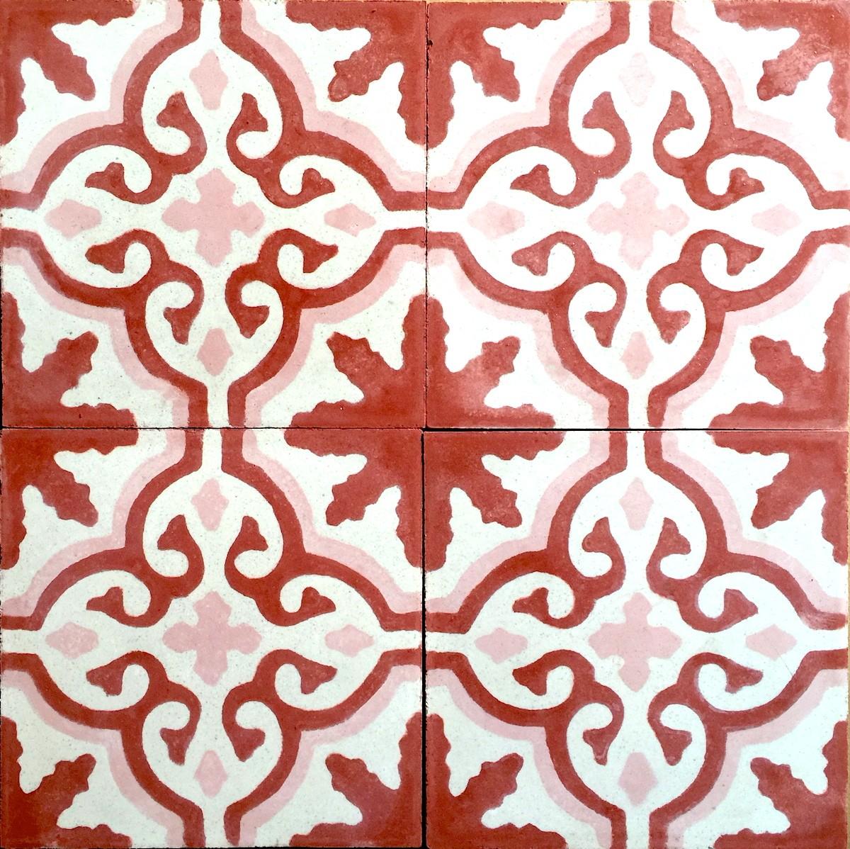 carreau en ciment sol et mur 1m modele flore rouge carrelage mosaique