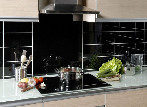 backsplash kitchen glass lacquer tiles 60 x 60 cm black