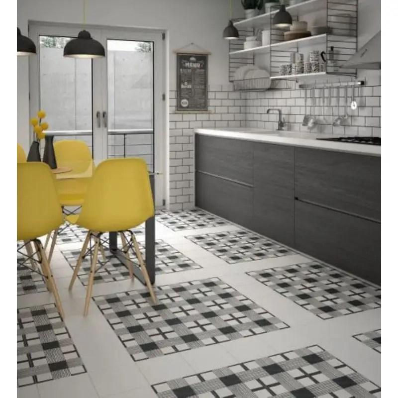 carreau effet ciment art deco 20x20 cloth noir et blanc carrelages 3d