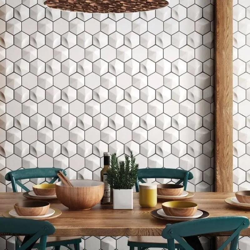 faience relief 3d 12 4x10 7 oberland hexagone white mat